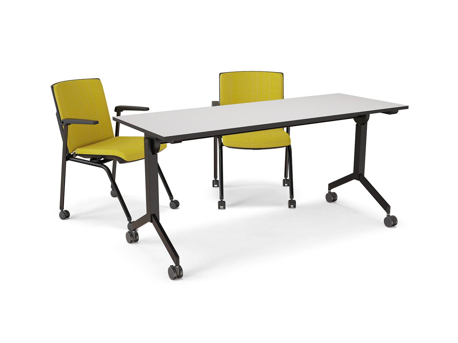 mesa rebatível com rodízios, estrutura cinza, tampo branco na posição normal