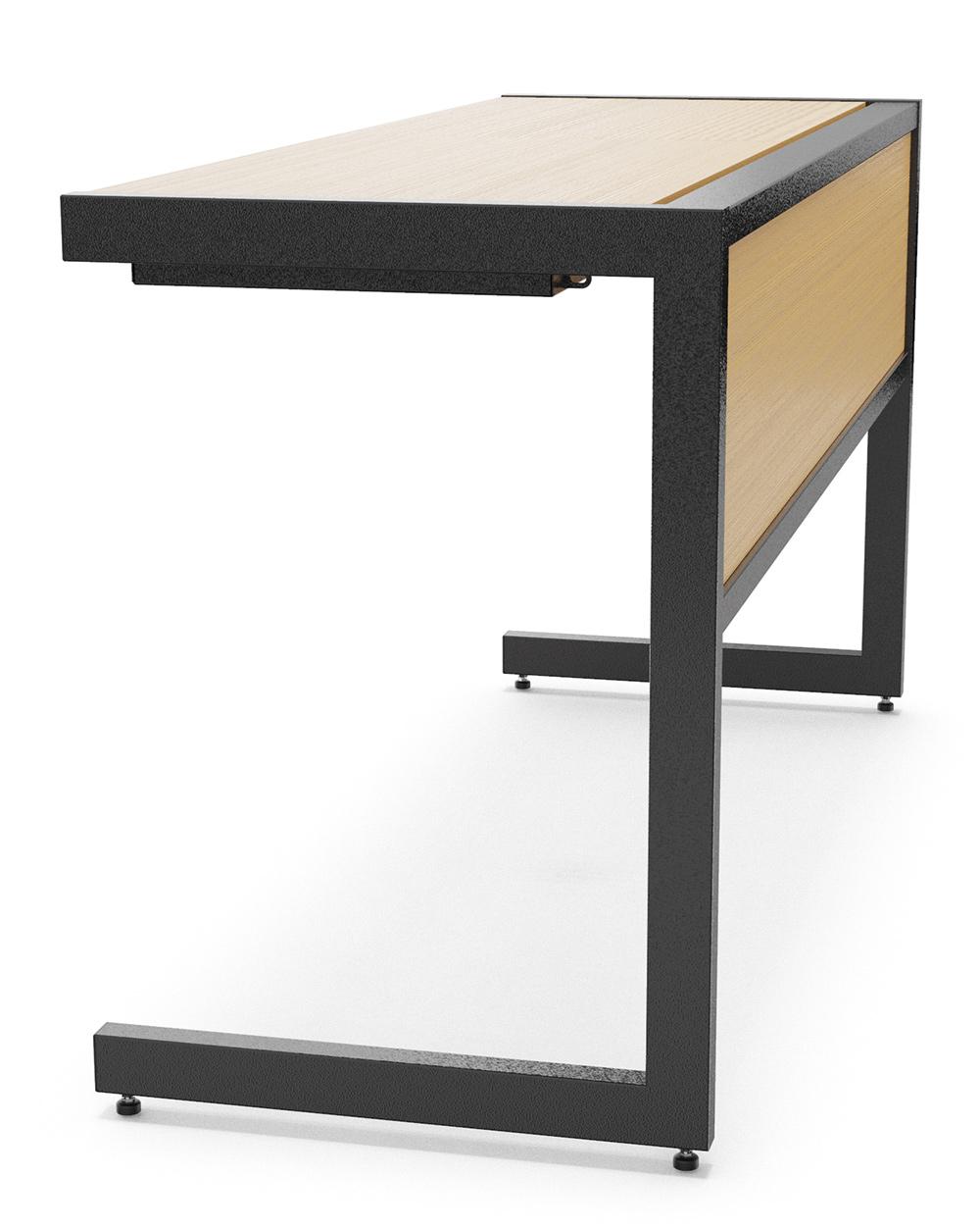 Vista lateral da mesa mostrando com o compartimento para notebook é discreto.