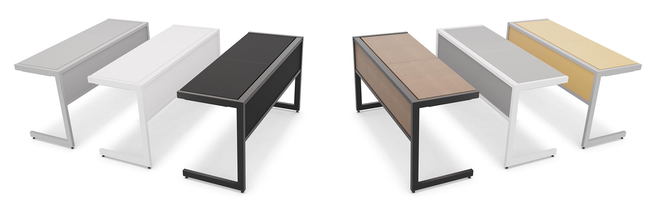 Vista aérea de 6 mesas com cores diferentes.