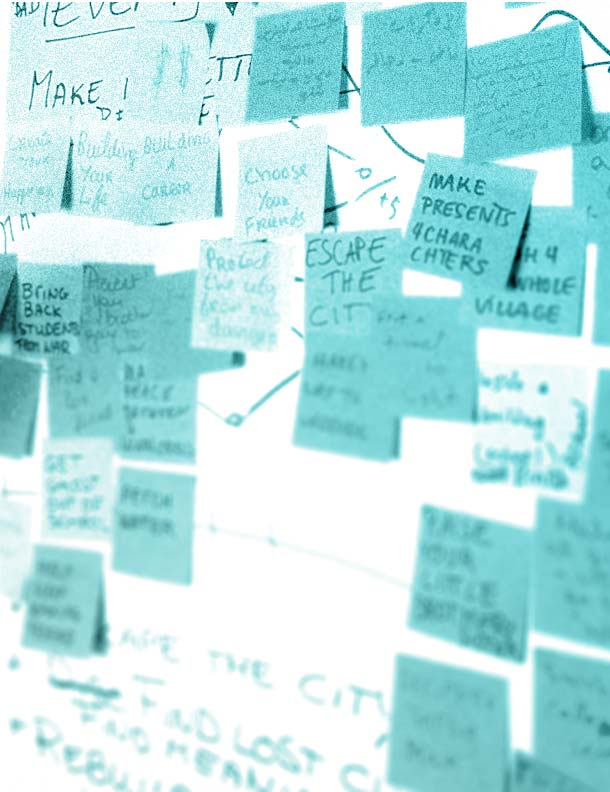 Sticky notes on the wall after a brainstorming sessions for the game missions