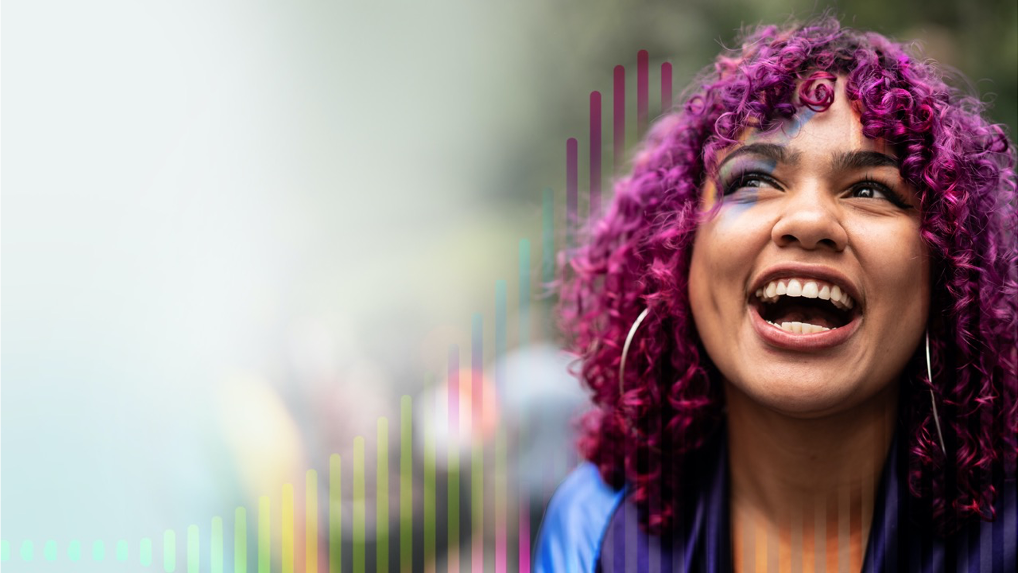 woman with purple hair laughing