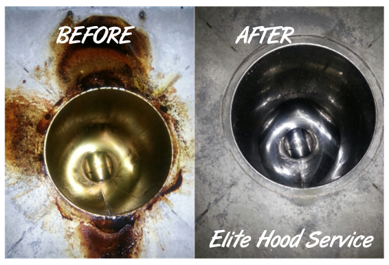 Hood duct cleaning before & after