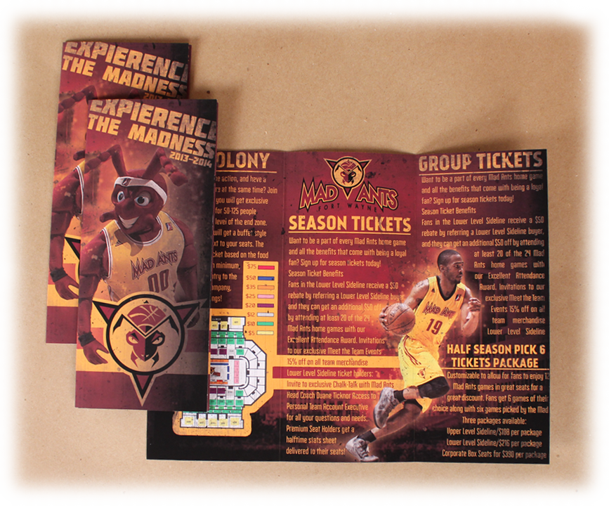 Fort Wayne Mad Ants Ticket Brochure Design