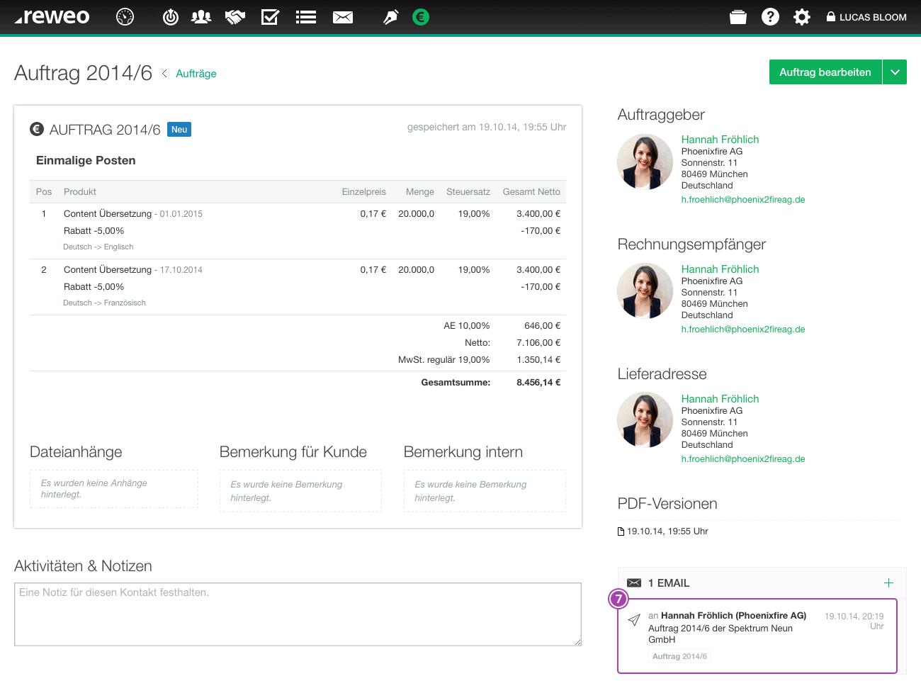 Auftrag Email versendet