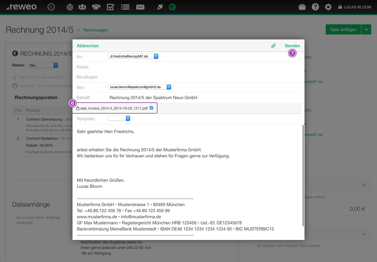 Rechnung Email verfassen