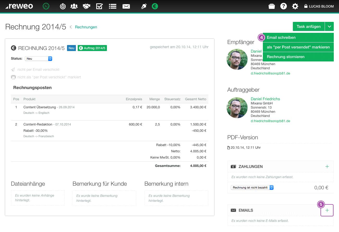 Rechnung Per Email Versenden Reweo Support