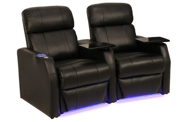 2 Black leather home theatre seats. product picture against white background.