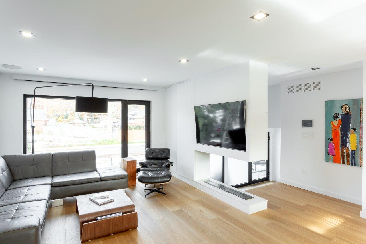 Living room with smart tv, lighting