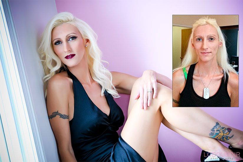 New Jersey boudoir photography and modern glamour photography - Before and After Photo