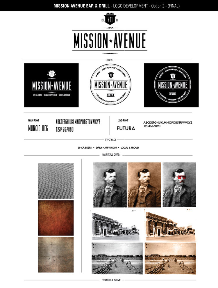 Mission Avenue Bar and Grill style guide.