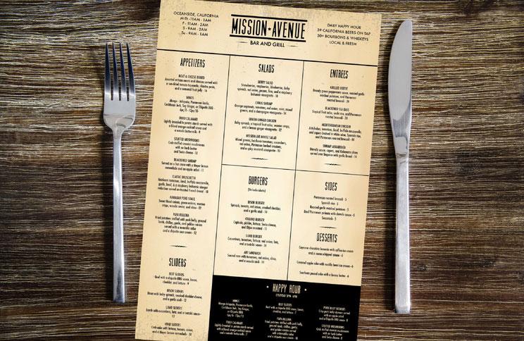 Mission Avenue's menu