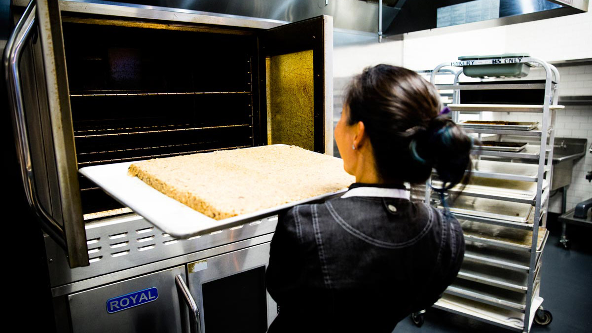 Chef baking Sherpa Energy Squares