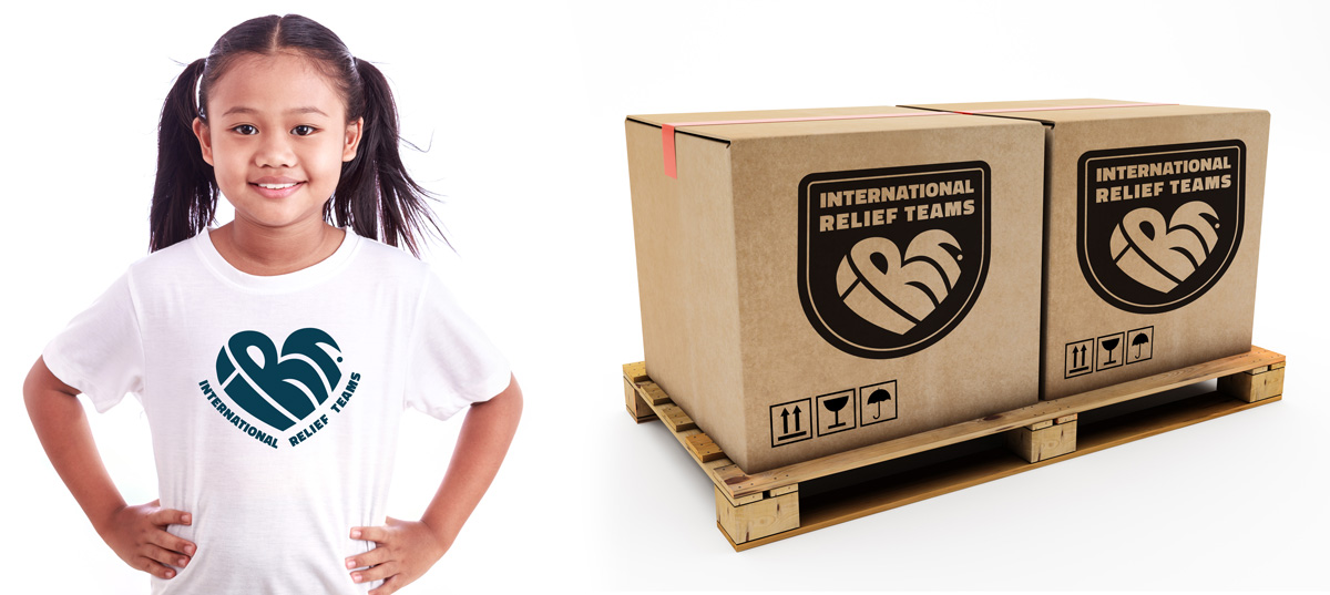 IRT's branding application to t-shirts and also to supply boxes