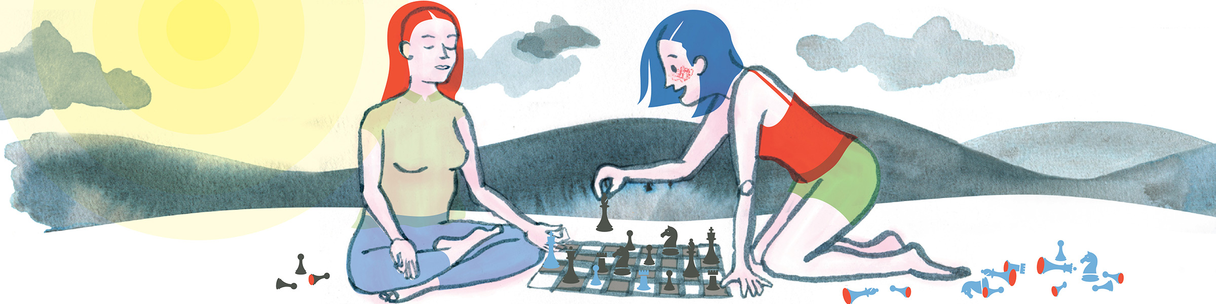 Header image featuring two women playing chess while one meditates