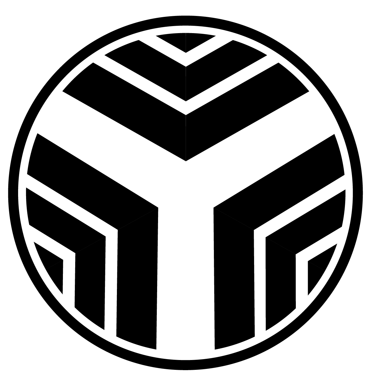 A black, gray and white  circular logo with a central Y built out by gray scaled chevrons giving it a sense of flow