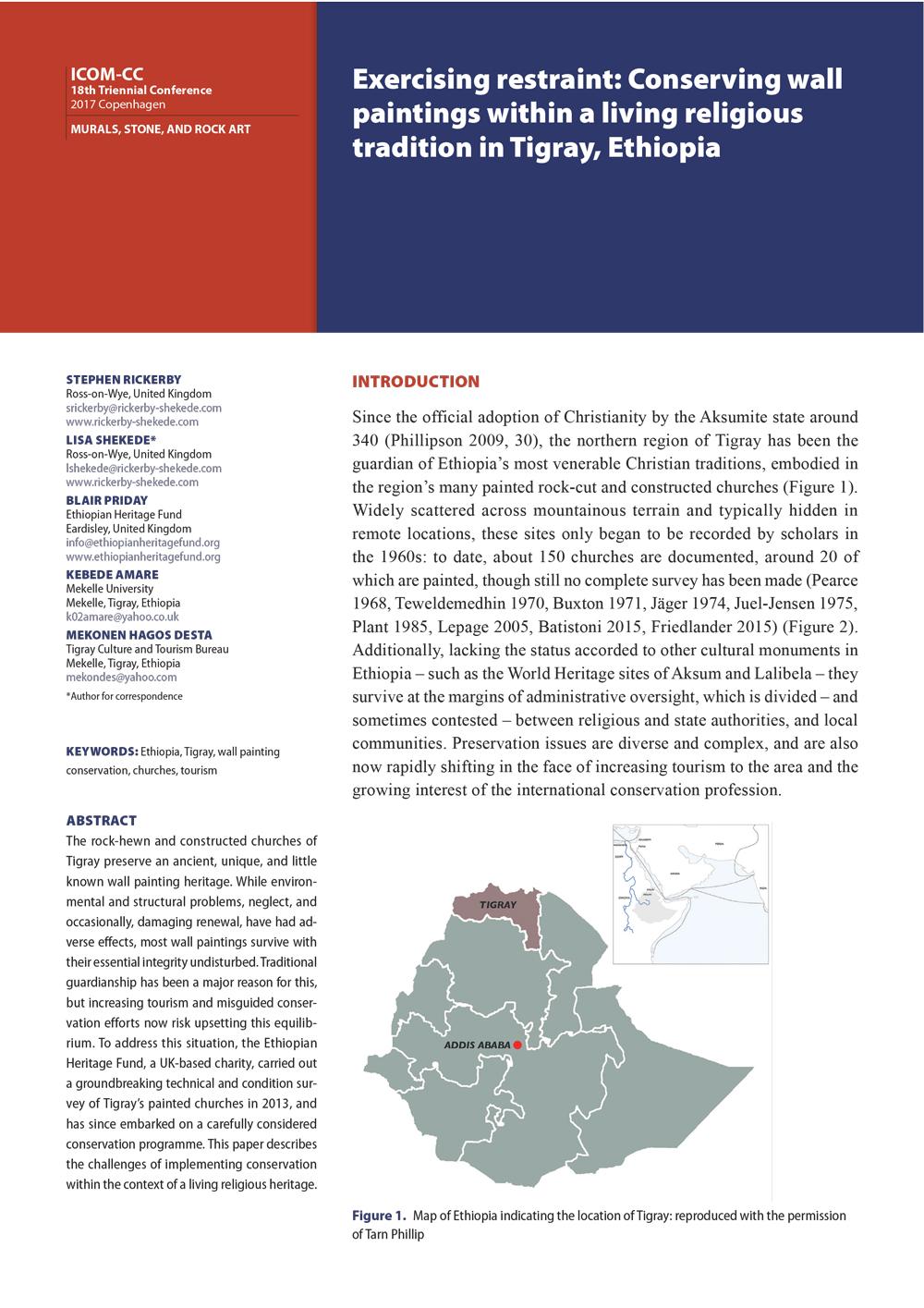 Ethiopian Heritage Fund - Tigray Map image