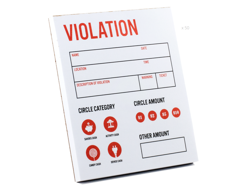 Violation Tickets - Teach kids money, focus, discipline and more with Kid Cash