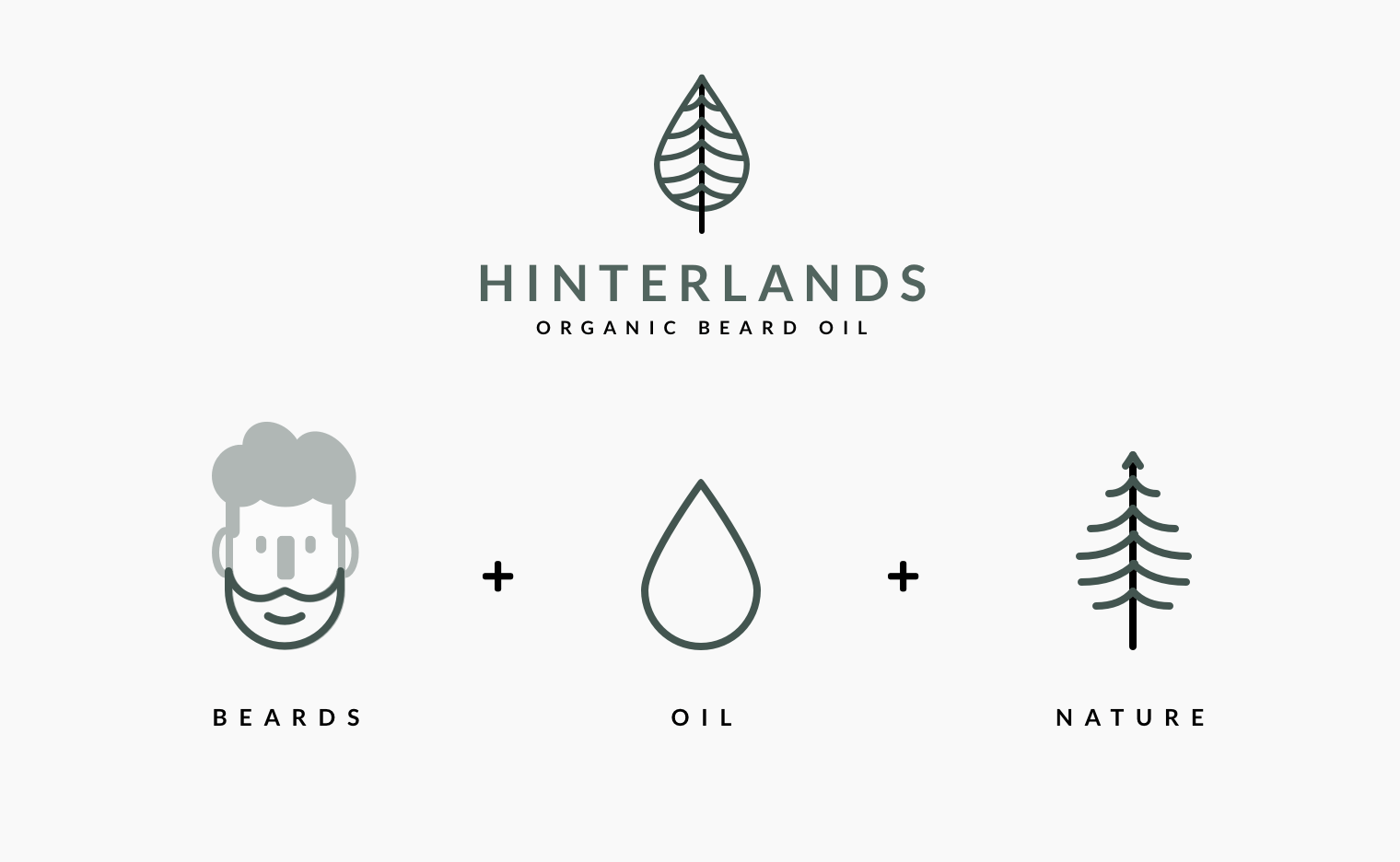 Hinterlands organic beard oil branding