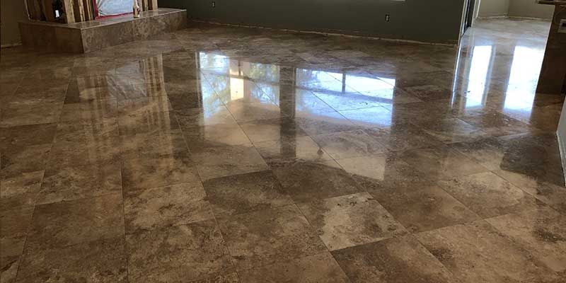 travertine polishing after