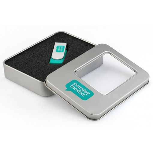 Металлическая коробка для USB флешки с окном