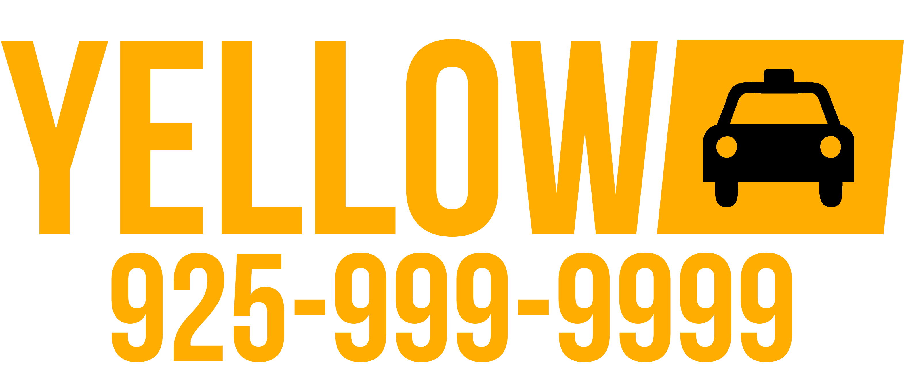 Yellow Cab Tri-Valley Logo and Phone Number 925-999-9999