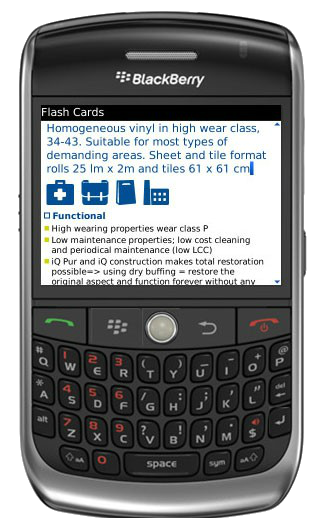 Image of  Tarkett eCampus on a Blackberry