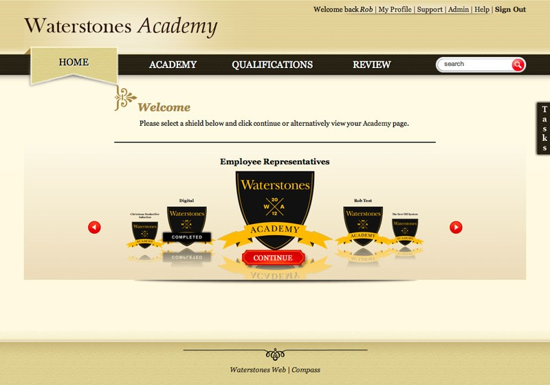 Image of Waterstones Academy Welcome Screen