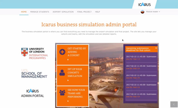Image of ICARUS Admin Portal Welcome Screen