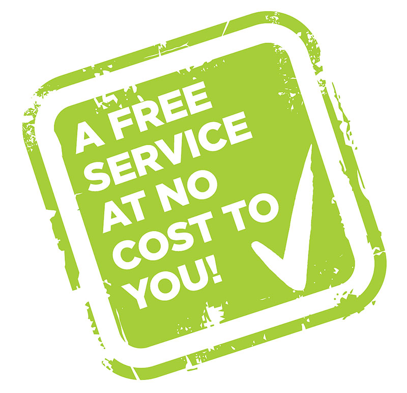 A Free service at no cost to you!