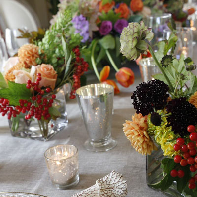 Candle and Flowers Centerpieces