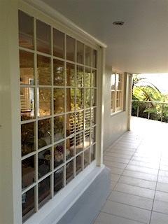 Typical colonial windows, dividing into small panes