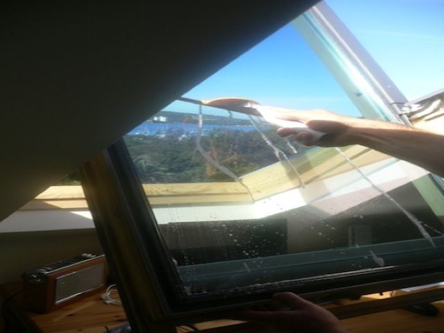 cleaning a velux skylight that flips around to do both sides from inside