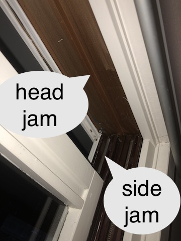 side jam and head jam of sash windows