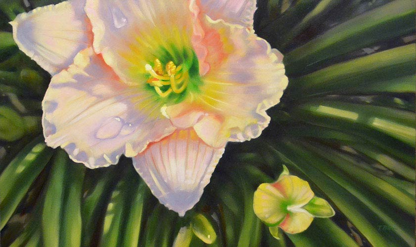 Pearlescent Lily oil painting image