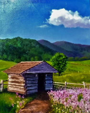 Sidney's shed oil painting