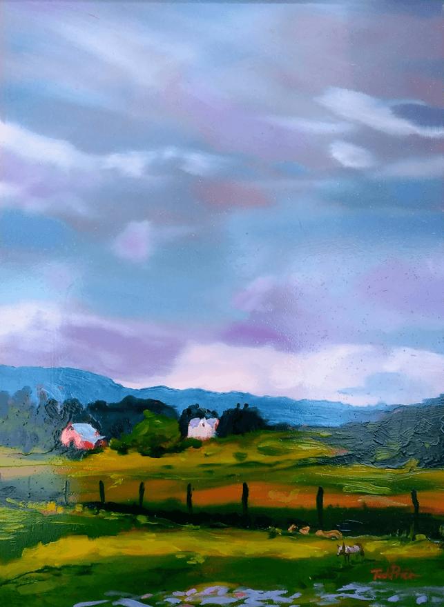 Meadowlark bog oil painting