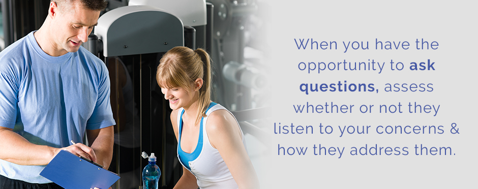 questions to ask when looking for a personal trainer