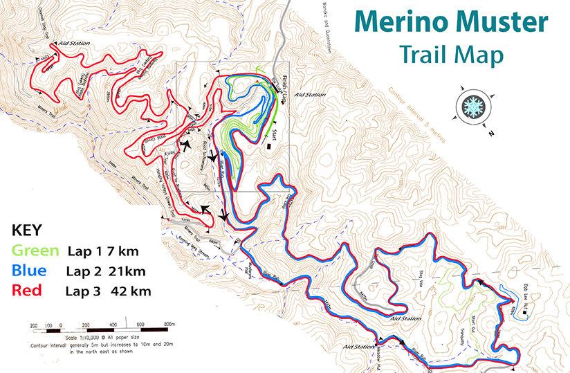 42km Trail Map Merino Muster