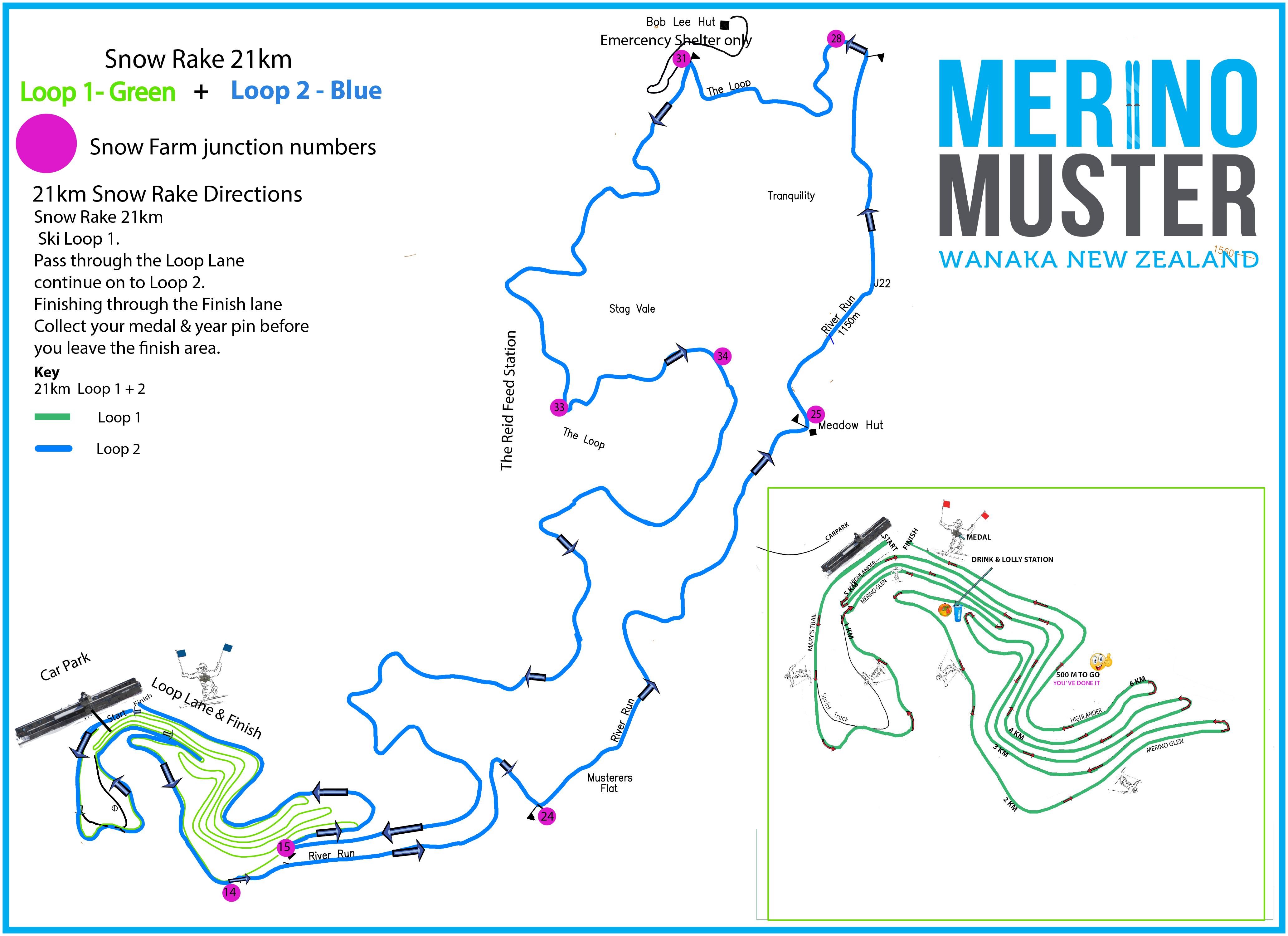 21km Trail Map Merino Muster