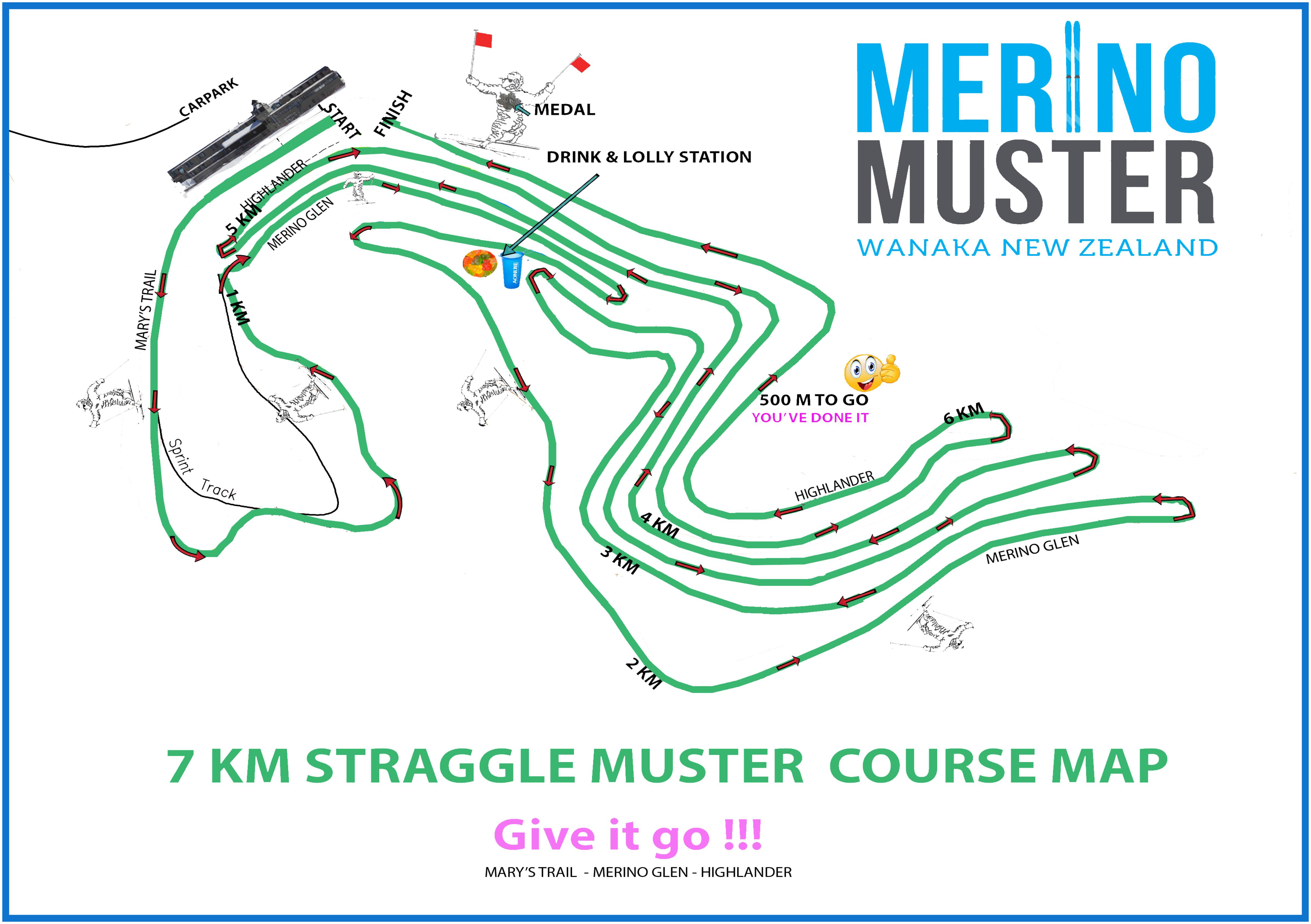 7km Trail Map Merino Muster