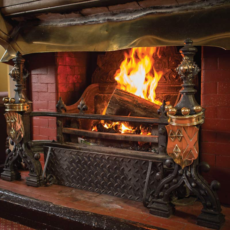 Roaring log fire at the Cliftonville Hotel, Cromer, Norfolk
