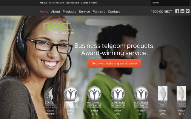 Next Telecom SEO work website designed and hosted by Maximus Consulting