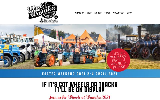 Event website Wheels at Wanaka designed and hosted by Maximus Consulting