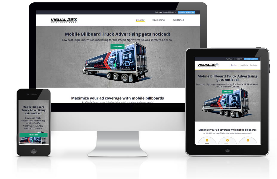 Graphic of Visual 360 Mobile Billboard Solutions Website