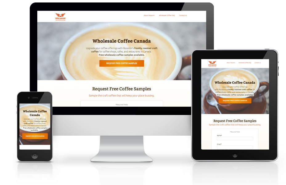 Graphic of Rocanini Wholesale Coffee Landing Page