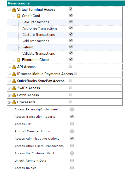 Payment Gateway User Permissions