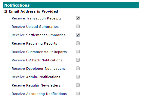 Payment Gateway User Notifications