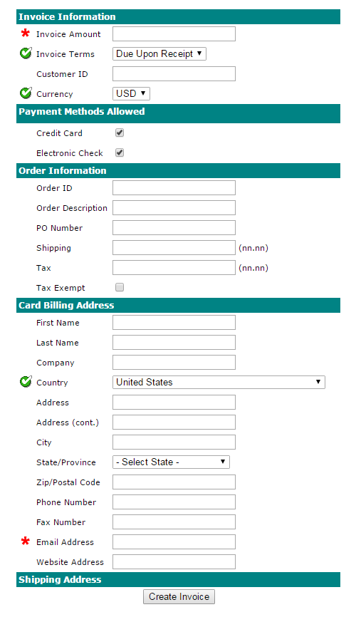 send customers invoices online and receive payments