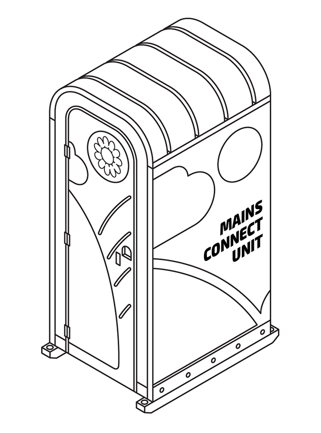 Mains connect toilet for site hire