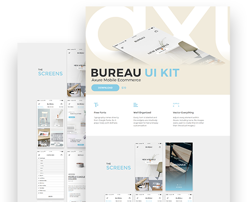Axure Mobile Ecommerce Bureau UI Kit